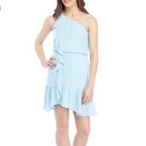NWT Kaari Blue One Shoulder Ruffle Dress